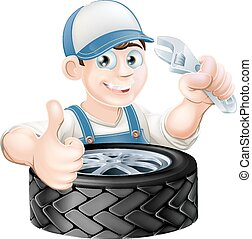 Mechanic with spanner and tire - An illustration of a...
