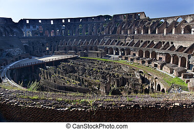 Ancient Colosseum Inside Rome Italy Built by Vespacian...