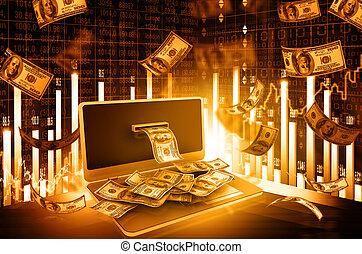 concetto, soldi, grafico, linea, mercato, casato