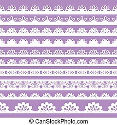 Set of beautiful lace vector trims - Can be used for...