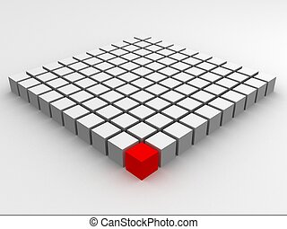 red cube - 3d rendered illustration of a red and many white...