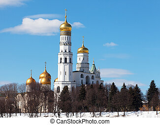 Beautiful view of Ivan the Great Bell Tower in sunny winter day, the Moscow Kremlin, Russia