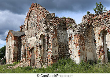 Ruins of Church - Ruins of Medieval European Church in...