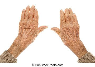 viejo, Manos, con, artritis,