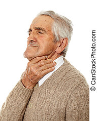 Old man with sore throat over flu isolated on white