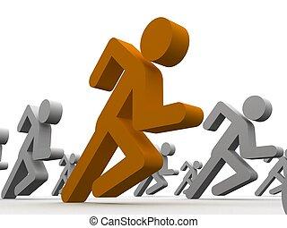 winner guy - 3d rendered illustration of running man icons