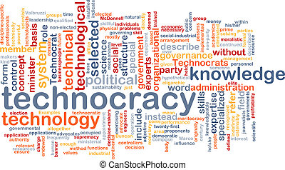 Technocracy  background wordcloud concept illustration