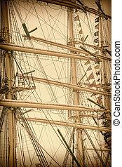 Masts Of Sailboats. Retro Stylized Image