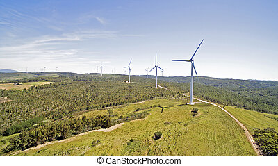 aéreo, De, molinos de viento, en, el, campo,