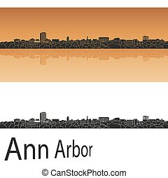 Ann arbor skyline - Ann Arbor skyline in orange background...