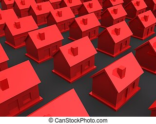 little houses - 3d rendered illustration of red houses...