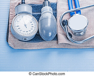 blood pressure monitor stethoscope medical concept