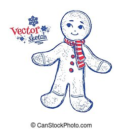 Gingerbread man. - Sketchy Vector illustration of...
