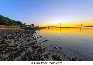 Sunset in South Queensferry at the Firth of Forth in...