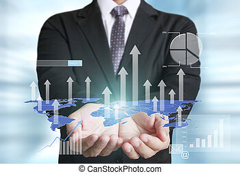 Man with financial symbols coming from hand - businessman...
