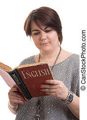 learning English concept. Young woman reading a book