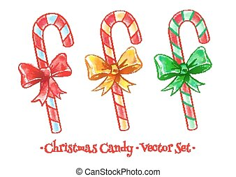 Christmas candy set. - Vector watercolor illustration of...