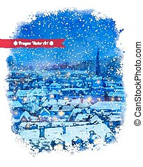 Winter Prague - Vector watercolor illustration of winter...