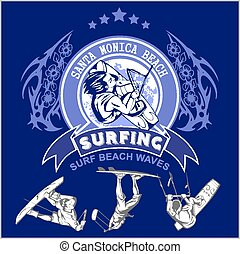 Surfing - vector label and surfers for tshirt