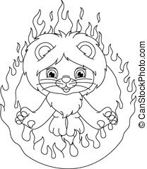 lion and ring of fire coloring page