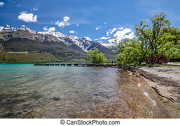 Lake Wakatipu at Glenorchy, Otago, South Island, New Zealand