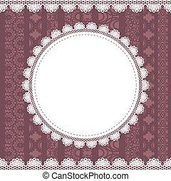 Elegant doily on lace background.