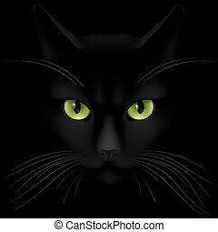 Cats eyes - Black cat with green eyes looking out of the...