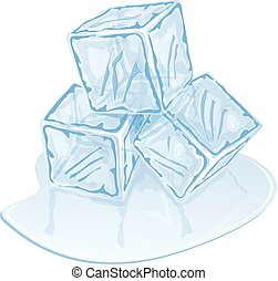 ice cube pile - Blue half-melted ice cube pile Vector...