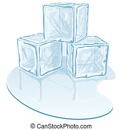 Real-167 - Blue half-melted ice cube pile Vector...