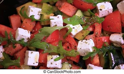 Close up of greek salad HD 1920x1080 - Close up of greek...