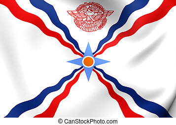 Flag of Assyria. Close Up.