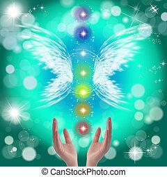 curación, Manos, y, Siete, chakras,