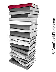 Pile of Black and white Books and a red book on top isolated on