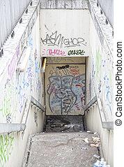 Undergroud environment with graffiti in Paris