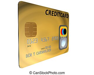 golden credit card - 3d rendered illustration of an isolated...