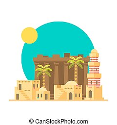 Print - Flat design of Karnak ruins in Egypt illustration...