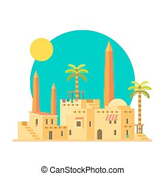 Flat design of mud houses village with obelisk illustration...