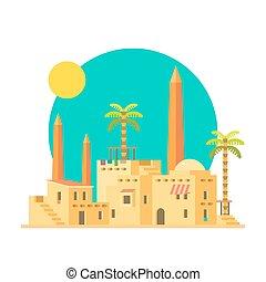 Flat design of mud houses village with obelisk illustration...
