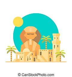 Flat design of Sphinx Giza with village illustration vector