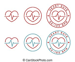 Vector heart rate icons