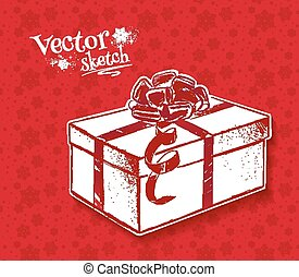 Vintage sketch of gift box. - Vintage sketch of gift box on...