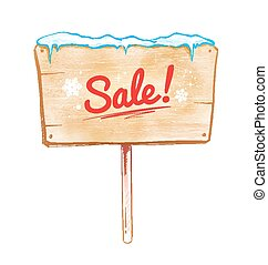 Sale sign.  - Vector watercolor illustration of sale sign.