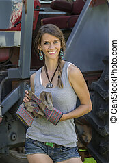 Farmers Daughter - model posing as a farmers daughter in a...