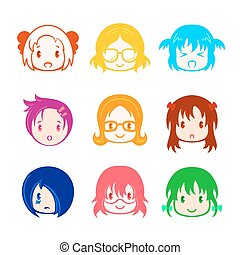 Little girl head icons - Colorful little girl head icons in...