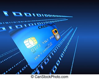 credit card - 3d rendered illustration of a blue credit card...