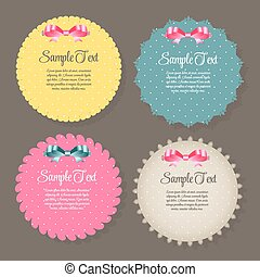 Design Retro Label, Frame, with Bow Vector Illustration...