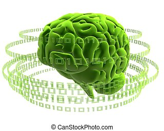 digital brain - 3d rendered illustration of a human brain...
