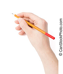 Hand - Men's hand with a pencil on a white background