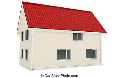 House with glossy tiled roof. isolated in white background....