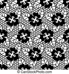 Black lace vector fabric seamless